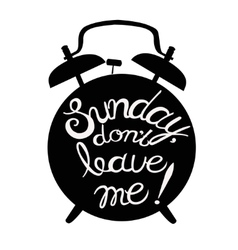 with alarmclock and lettering vector image vector image