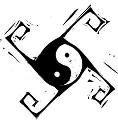 Yin Yang Cross vector image vector image