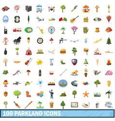 100 parkland icons set cartoon style vector image