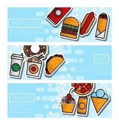 Fast food horizontal banner set vector