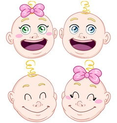 Cute Baby Boy And Girl Head Set vector image