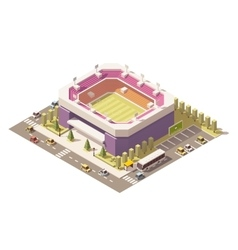 Isometric low poly soccer stadium vector