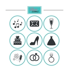 Wedding engagement icons vow love letter vector