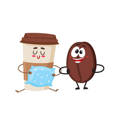 Crazy coffee bean and sleepy paper cup characters vector