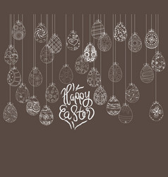 hanging easter eggs ornament card vector image