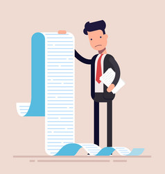 businessman or manager hold a long list or scroll vector image