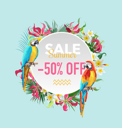 Summer sale tropical flowers and parrots banner vector