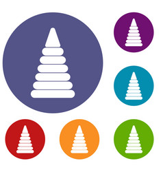 Pyramid built from plastic rings icons set vector