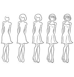 Beautiful women contour in drawing sequence vector