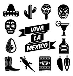 mexican silhouettes vector image