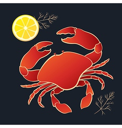 Crab with lemon and dill vector