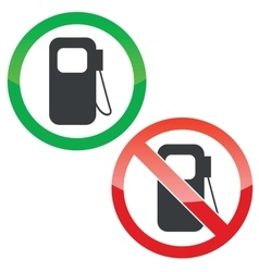 Gas station permission signs set vector