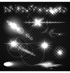 Set of light effects spotlights flash stars and vector