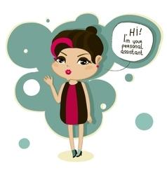 Cartoon girl says hello vector