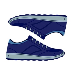 Pair unisex blue suede sneakers shoes vector