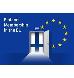 European union flag wall with finland flag door vector