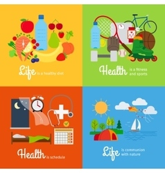 Healthy lifestyle elements vector