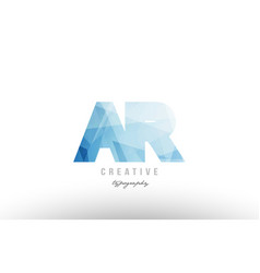 Ar a r blue polygonal alphabet letter logo icon vector