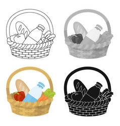 Basket with products icon in cartoon style vector