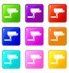 Cctv camera icons 9 set vector