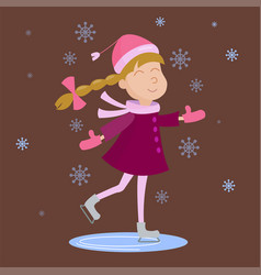 christmas girl skating playing winter games vector image