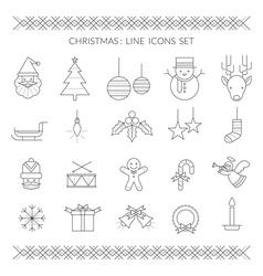 Christmas line icons set vector