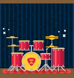 Color flat style drum set bass tom-tom ride vector