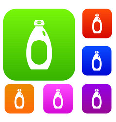 cream bottle set color collection vector image