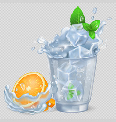 faceted glass of water with ice and orange vector image vector image
