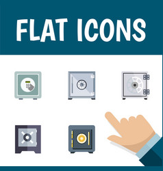 flat icon closed set of protection saving vector image