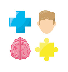 Healthy mental of brain symbols vector