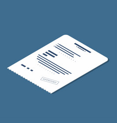 isometric receipt icon accepted bill invoice vector image