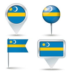 Map pins with flag of Szeklerland vector image vector image
