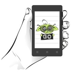Mobile phone in palm hand wanted green pokemon go vector