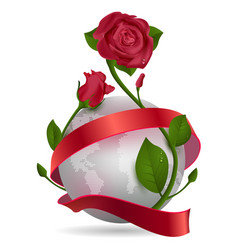 Planet red ribbon and rose flower vector