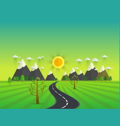 road in green valley mountains hills clouds and vector image