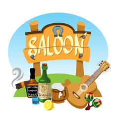 saloon wooden signboard advertising banner in the vector image vector image