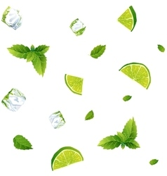 Seamless white pattern mojito with Ice cubes vector image vector image