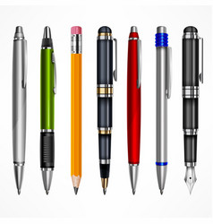 set of pens and pencils vector image vector image