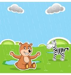 teddy and zebra vector image vector image