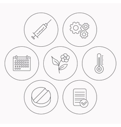 Thermometer syringe and tablet icons vector image