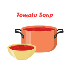 Tomato soup in bowl dish hot meal with meat vector