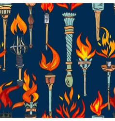 Torch sketch seamless pattern vector image