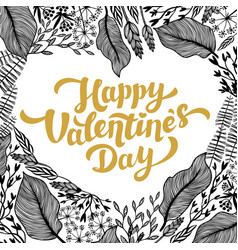valentines day card design golden lettering and vector image vector image