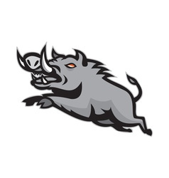 Wild pig boar jumping isolated vector