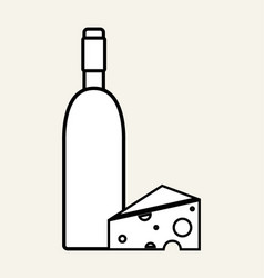 Wine bottle with tasty cheese vector