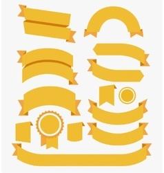 Round Ribbons Flat Design Set Yellow vector image