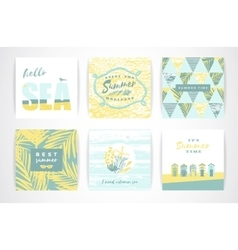 Set of summer cards with hand-drawing elements vector