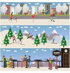 Set of active winter people posters in flat vector