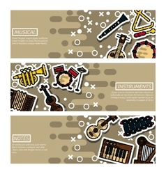 Set of horizontal banners musical instruments vector